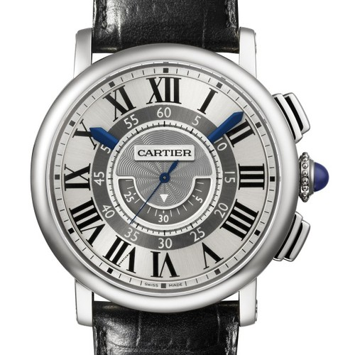 Cartier Rotonde Central Chronograph (WG / Silver/ Leather)