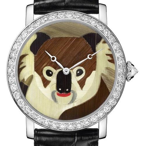 Cartier Rotonde De Cartier Koala Motif (WG-Diamonds / YG-Straw Marquetry / Leather Strap)