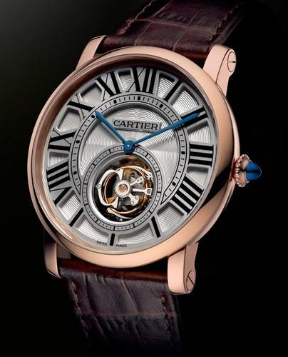 Cartier Rotonde De Cartier Minute Repeater Flying Tourbillon (PG / White-Silver / Leather Strap)