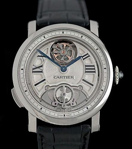 Cartier Rotonde De Cartier Minute Repeater Flying Tourbillon (Titanium / White-Silver / Leather Strap)