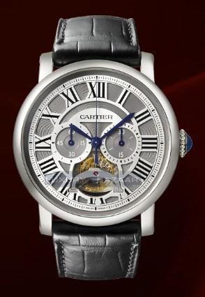 Cartier Rotonde De Cartier Single Push-Piece Tourbillon Chronograph (Platinum / Silver / Leather)