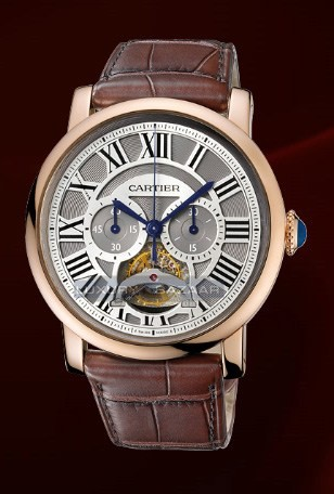 Cartier Rotonde De Cartier Single Push-Piece tourbillon Chronograph (RG / Silver / Leather)