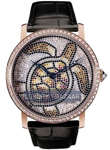 Cartier Rotonde de Cartier Turtle Motif (PG-Diamonds / Stone Mosaic Leather Strap)