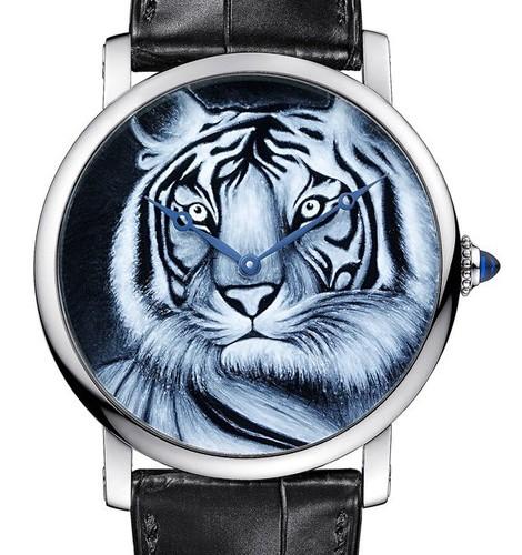 Cartier Rotonde De Cartier (WG / WG-Enamel Tiger / Leather Strap)