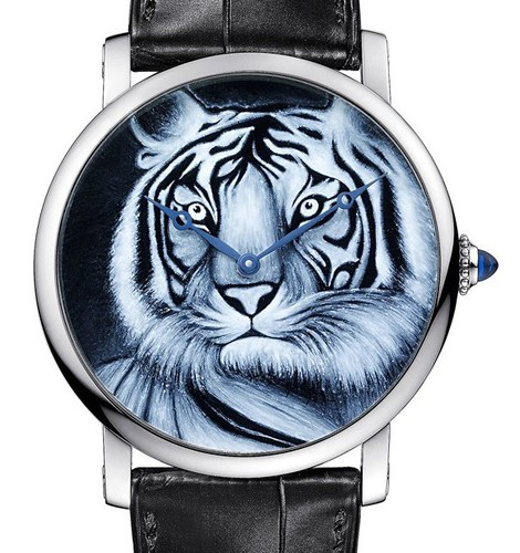 Cartier Rotonde De Cartier (WG / WG-Enamel Tiger / Leather Strap)