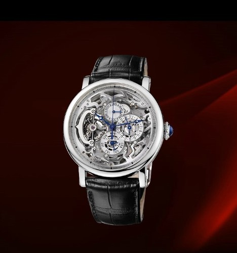 Cartier Rotonde Grand Complication (Platinum / Silver/ Leather)