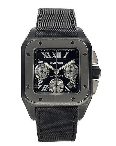 Cartier Santos 100 Carbon Extra Large (Titanium- SS / Black / Rubber)