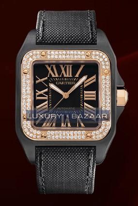 Cartier Santos 100 Carbon Large (Carbon- Diamonds / Black/ Fabric)