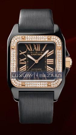 Cartier Santos 100 Carbon Medium (Carbon- Diamonds / Black/ Fabric)