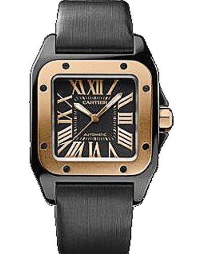 Cartier Santos 100 Carbon Medium (RG- SS / Black / Fabric)