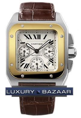 Cartier Santos 100 Chronograph (SS - YG / Silver /Croc Leather)