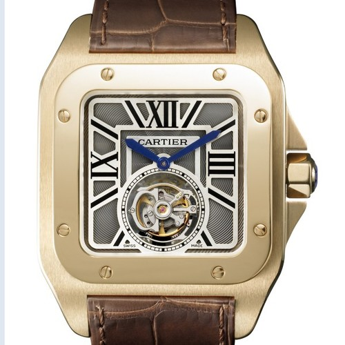 Cartier Santos 100 Flying Tourbillon (RG / RG / Leather)