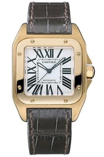 Cartier Santos 100 Medium (RG / Silver /Leather)