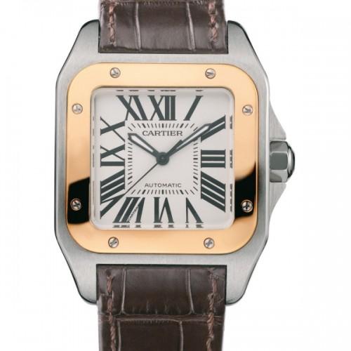 Cartier Santos 100 Medium (SS - YG / Silver /Croc Leather)