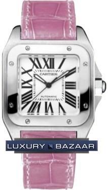 Cartier Santos 100 Medium (SS / Silver /Croc Leather Pink)