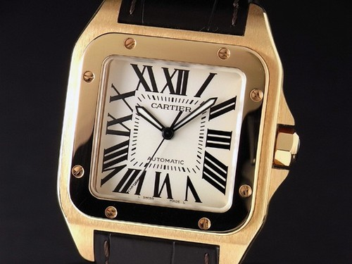 Cartier Santos 100 (RG / Silver / Crocodile Leather Strap)