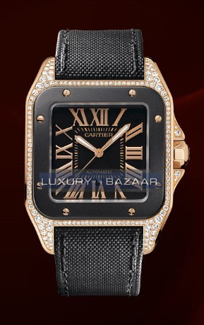 Cartier Santos 100 Rose Gold Carbon Large(RG-Diamonds- Carbon/ Black/ Fabric)