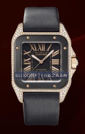 Cartier Santos 100 Rose Gold Carbon Medium (RG-Diamonds- Carbon/ Black/ Fabric)