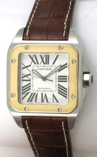 Cartier Santos 100 (SS - YG / Silver /Croc Leather)