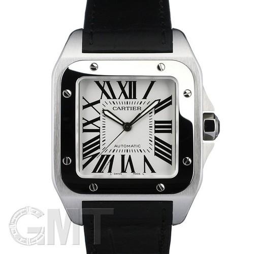 Cartier Santos 100 (SS / Silver /Croc Leather)