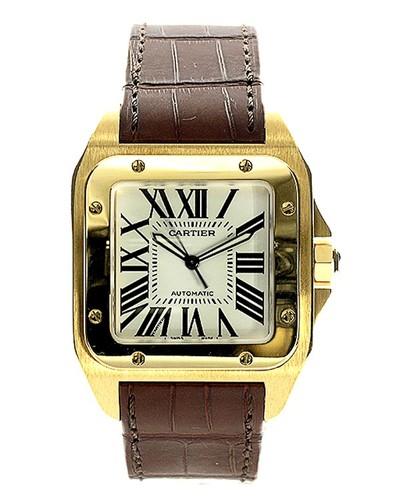 Cartier Santos 100 (YG / Silver /Croc Leather)