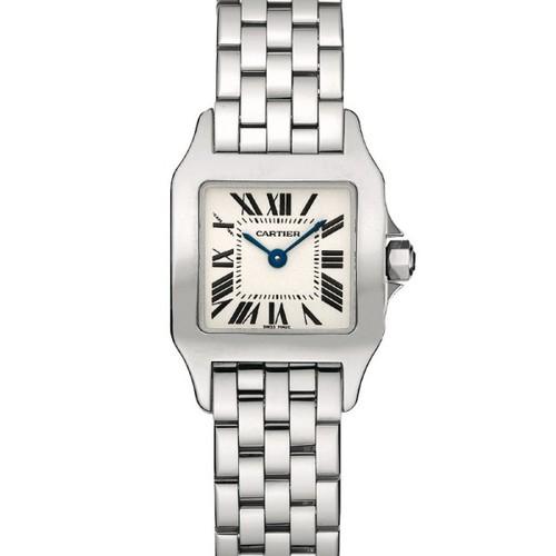 Cartier Santos Demoiselle Large (WG-Diamonds/ Silver/WG-Diamonds)