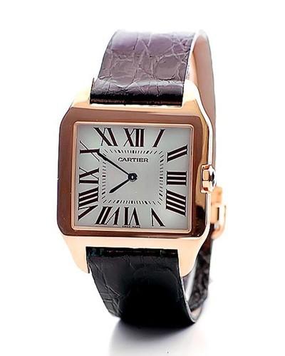 Cartier Santos Dumont Large (RG / Silver / Leather)