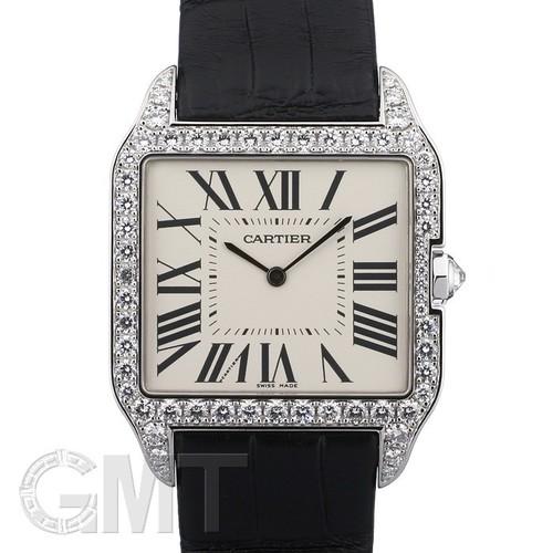 Cartier Santos Dumont Large (WG- Diamonds / Silver / Leather)