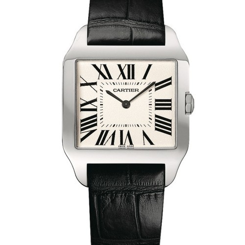 Cartier Santos Dumont Large (WG / Silver / Leather)