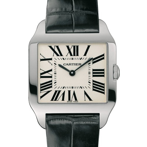 Cartier Santos Dumont Small (WG / Silver / Leather)