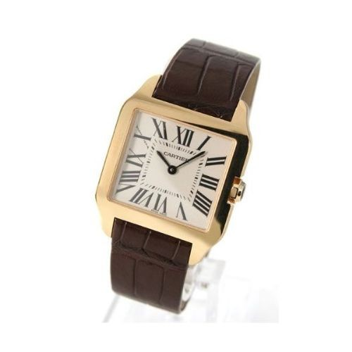 Cartier Santos Dumont Small (YG / Silver / Leather)