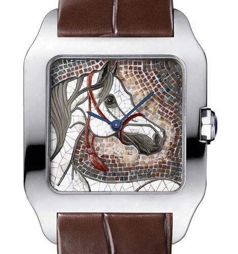 Cartier Santos Dumont XL Horse (WG / Mosaic / Leather Strap)
