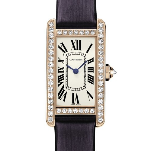 Cartier Tank Americaine Ladies (RG - Diamonds / Silver / Satin)