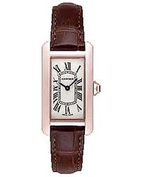 Cartier Tank Americaine Ladies (RG / Silver /Croc Leather)