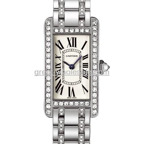 Cartier Tank Americaine Ladies (WG - Diamonds / Silver / WG - Diamonds )