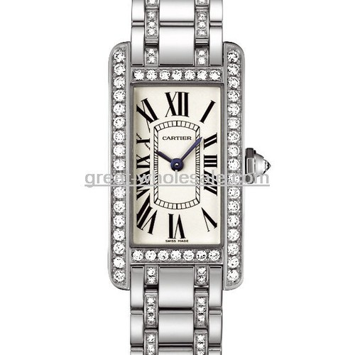 Cartier Tank Americaine Ladies (WG - Diamonds / Silver / WG - Diamonds )
