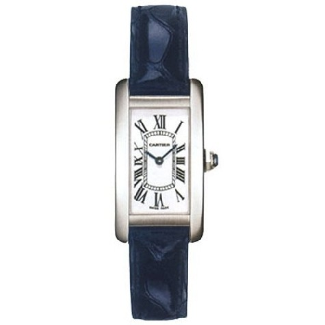 Cartier Tank Americaine Ladies (WG / Silver /Croc Leather)