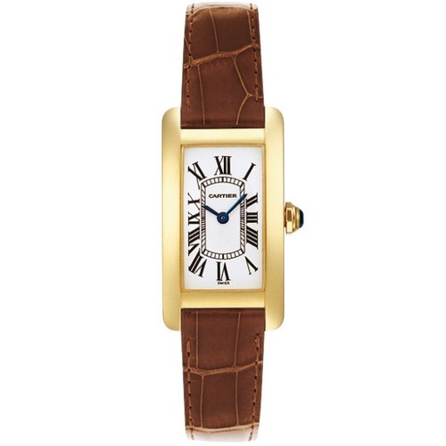 Cartier Tank Americaine Ladies (YG / Silver /Croc Leather)