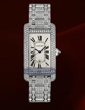 Cartier Tank Americaine Medium (WG-Diamonds / Silver / WG-Diamond Bracelet)