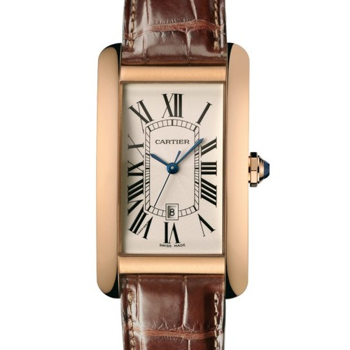 Cartier Tank Americaine (RG / Silver /Croc Leather)