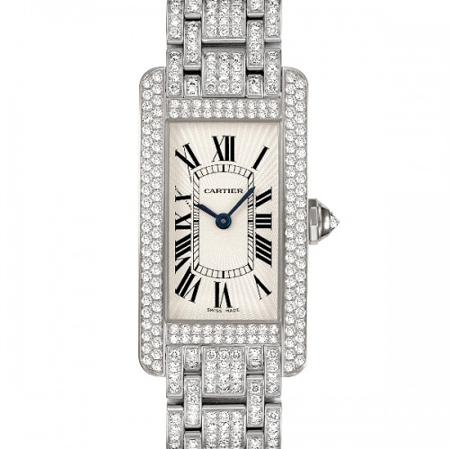 Cartier Tank Americaine Small (WG-Diamonds / Silver / WG-Diamond Bracelet)