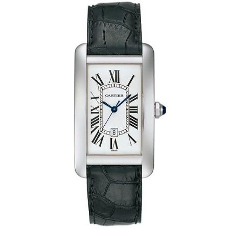 Cartier Tank Americaine (WG / Silver /Croc Leather)