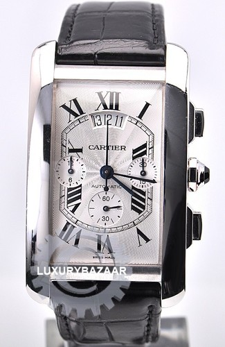Cartier Tank Americaine XL Chronograph (WG / Silver / Leather Strap)