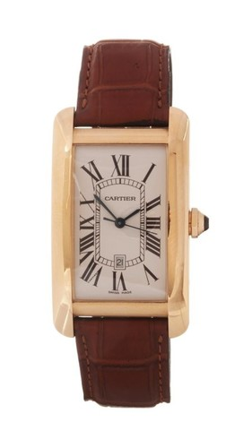 Cartier Tank Americaine (YG / Silver /Croc Leather)
