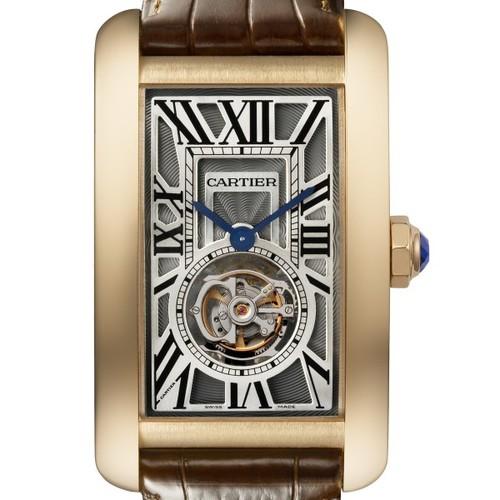 Cartier Tank Americane Flying Tourbillon (RG / Silver/ Leather)