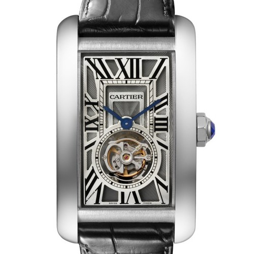 Cartier Tank Americane Flying Tourbillon (WG / Silver/ Leather)
