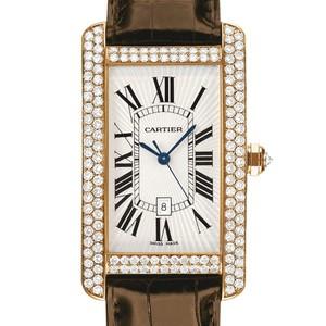 Cartier Tank Americane Large (RG- Diamonds / Silver/ Leather)