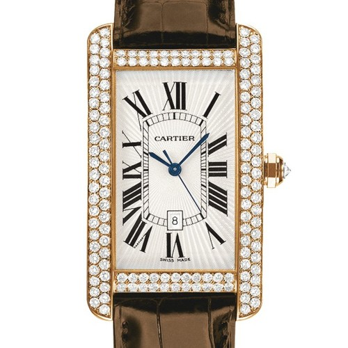 Cartier Tank Americane Large (RG- Diamonds / Silver/ Leather)