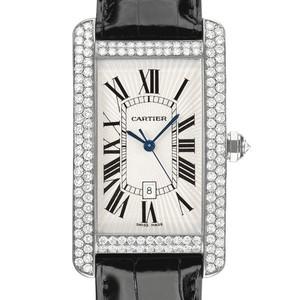 Cartier Tank Americane Large (WG- Diamonds / Silver/ Leather)