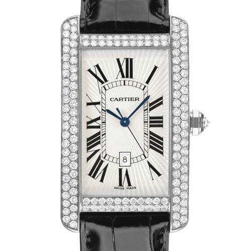 Cartier Tank Americane Large (WG- Diamonds / Silver/ Leather)
